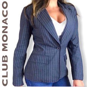 Club Monaco Gray Pin Striped Work Blazer Jacket 2